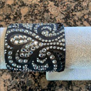 Custom leather/crystal cuff